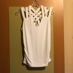 INC White crisscross back strappy top